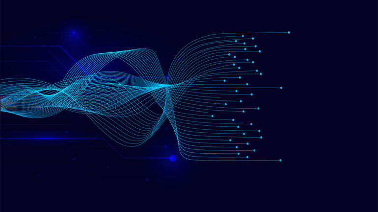 Vector wave lines flowing dynamic on blue background for concept of AI technology, digital,
