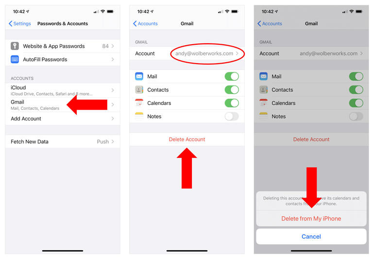 """Three iPhone screenshots: (left) Arrow pointing to Gmail account, (middle) Email address circled, with arrow pointing to Delete Account, (right) Confirmation screen shows arrow pointing to """"Delete from My iPhone"""" option."""