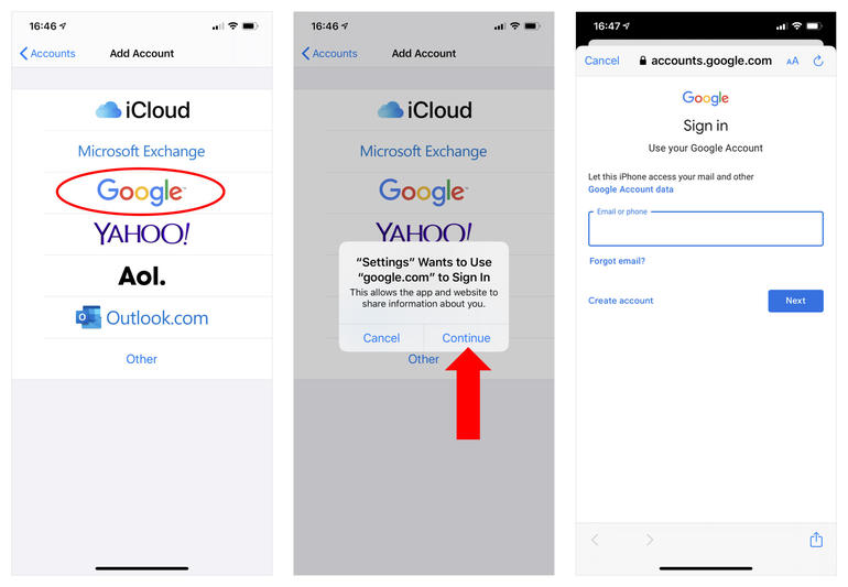 Three iPhone screenshots: (left) Add account options, with Google circled, (middle) Notice that Settings wants to use Google.com to Sign In with Continue option displayed, (right) Google account Sign in screen, with box for email address.